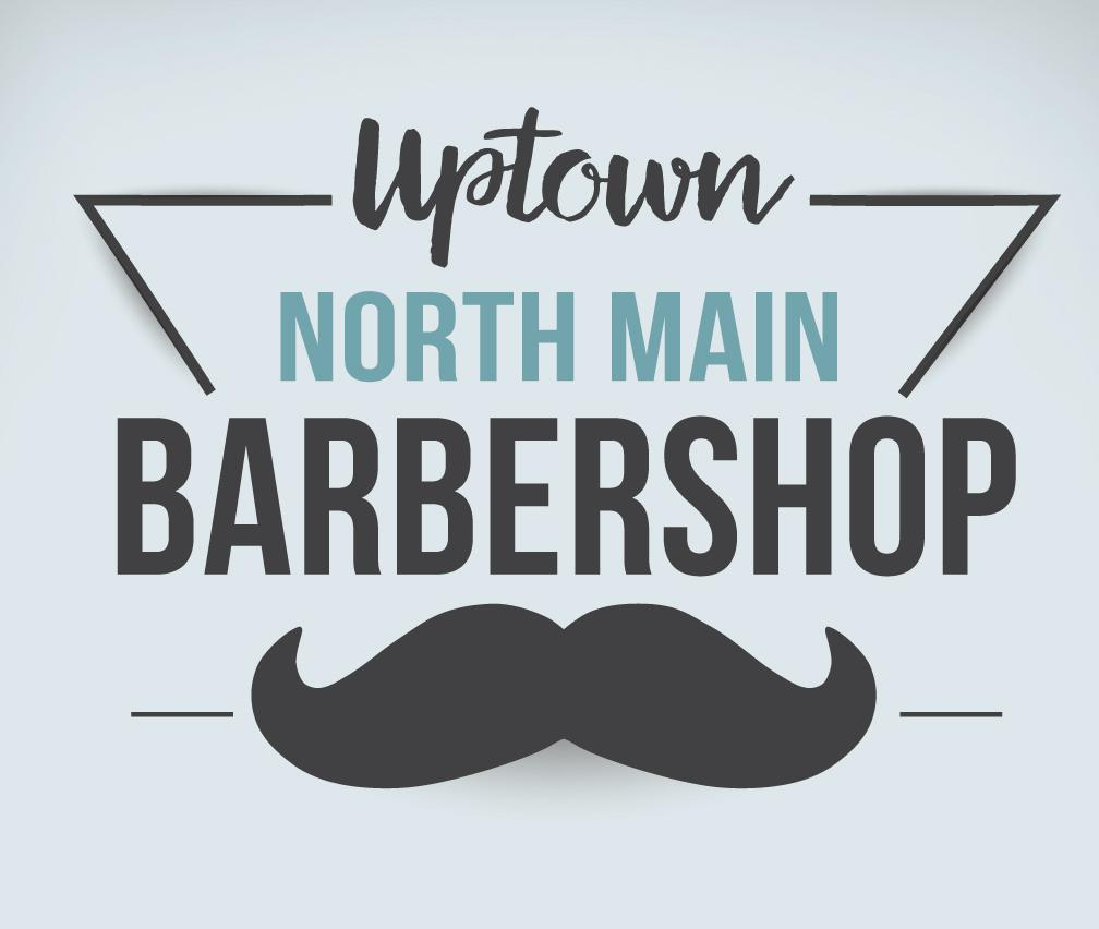 Uptown North Main Barbershop Logo
