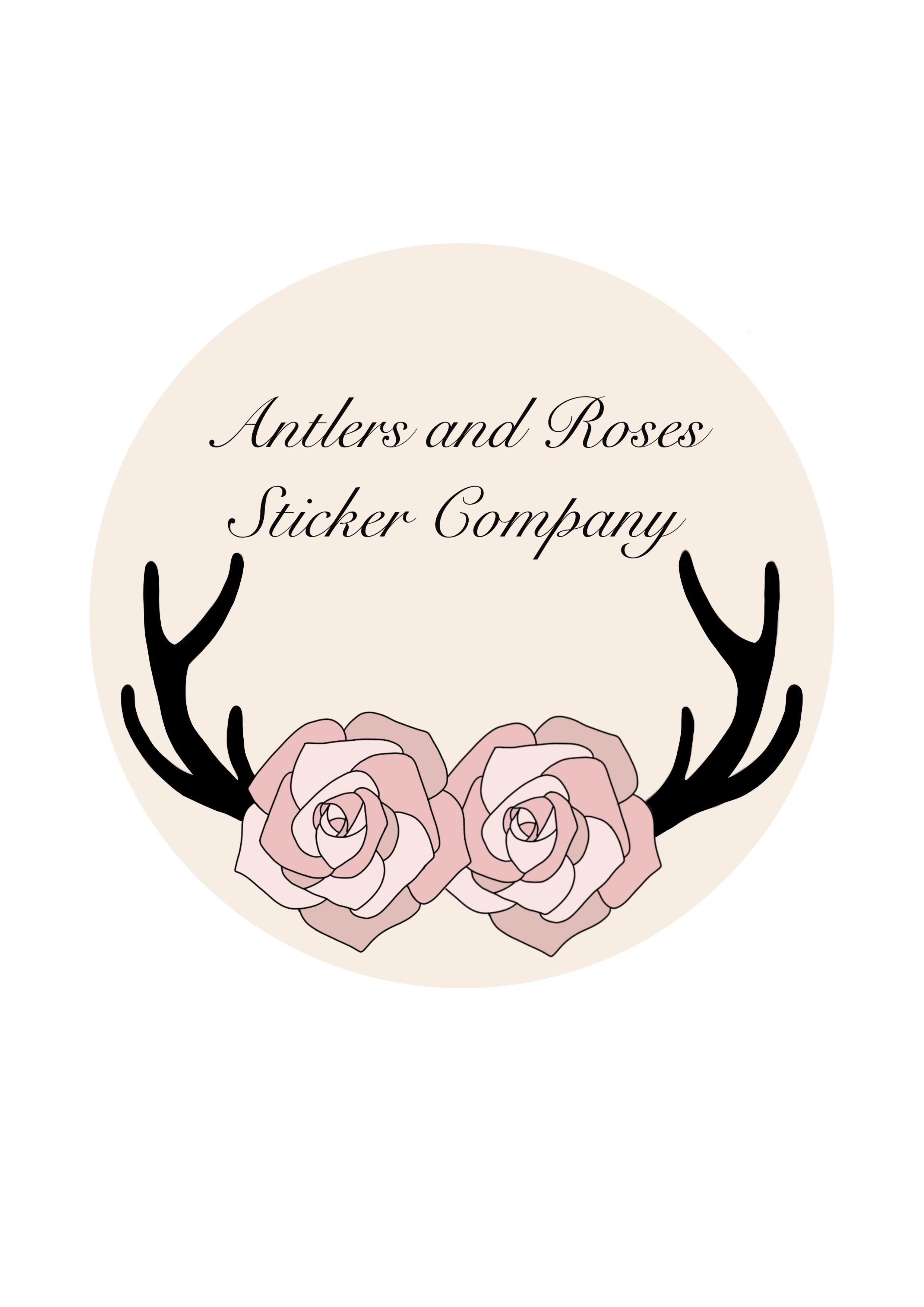 Antlers and Roses Sticker Company Logo